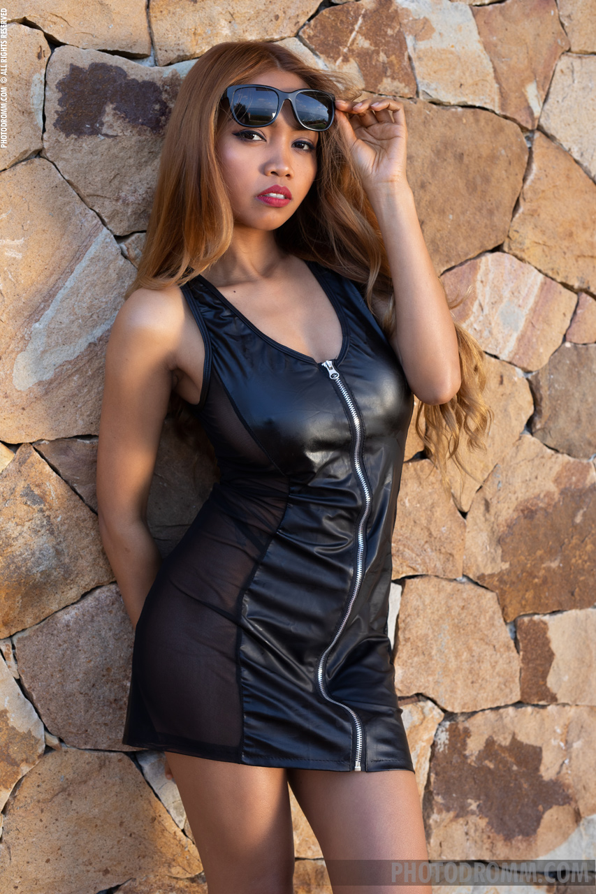 Cruzlyn Big Boobs Naked in Black Leather Minidress for Photodromm