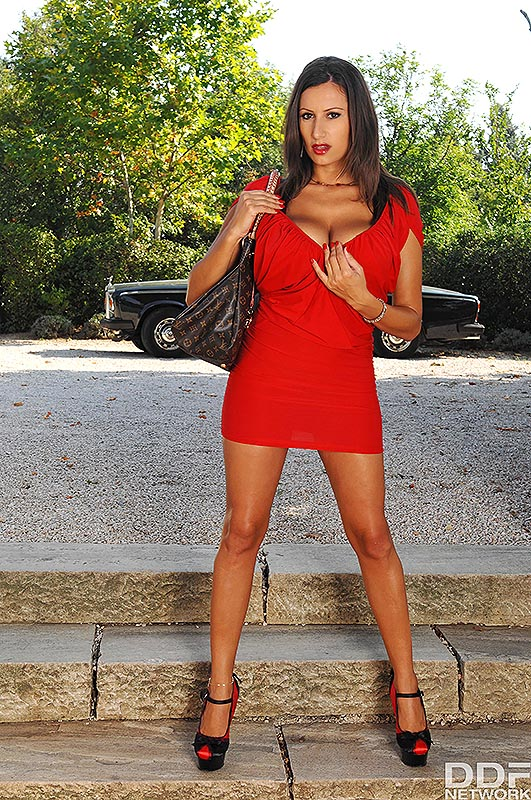 Sensual Jane Huge Tits in Tight Red Minidress
