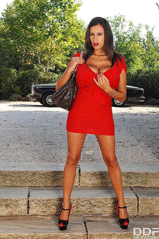 Sensual Jane Huge Tits in Tight Red Minidress