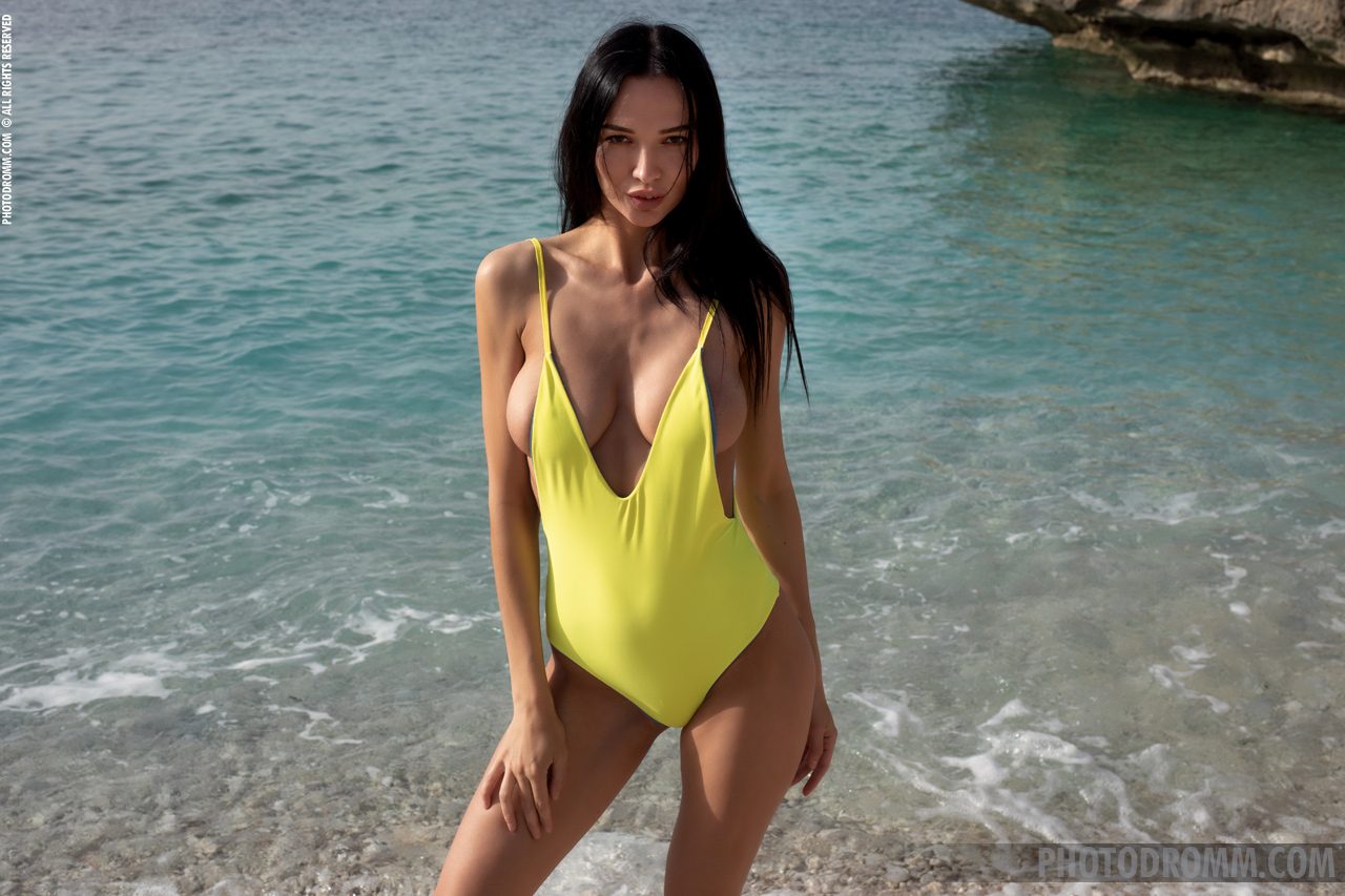 Anastasya Big B oobs in Yellow Swimsuit at the Beach for Photodromm