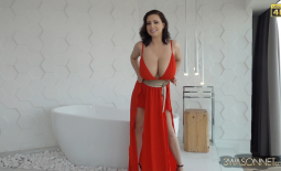 Ewa Sonnet Huge Tits in Red Genie Dress