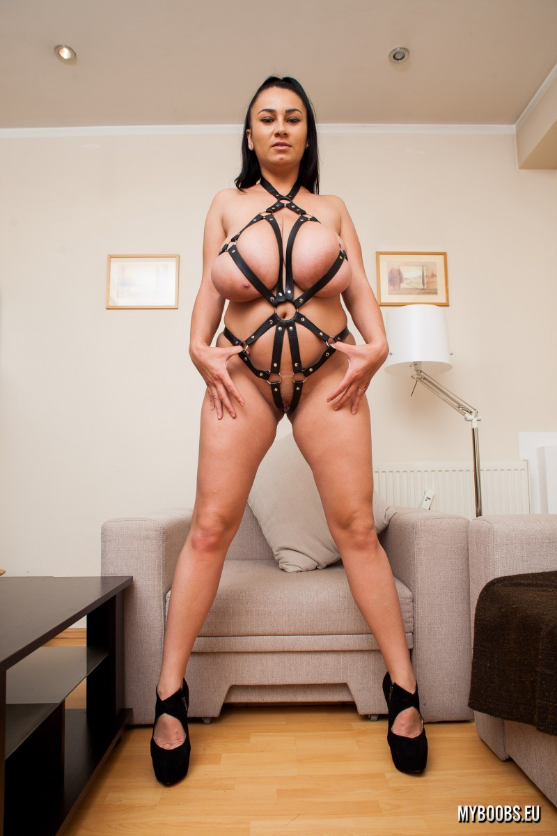 Helen Star Huge Tits in Leather Strappy Device
