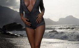 Nadine Big Tits on a Black Sandy Beach for Photodromm