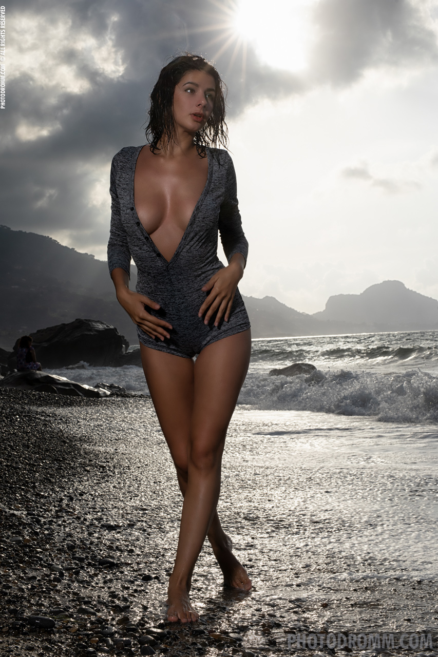 Nadine Big Tits on a Black Sandy Beach for Photodromm