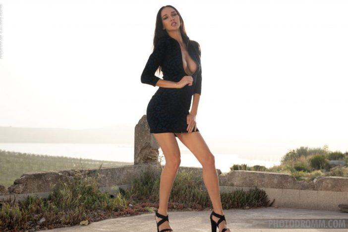 Anastasya Big Tits in Little Black Dress for Photodromm