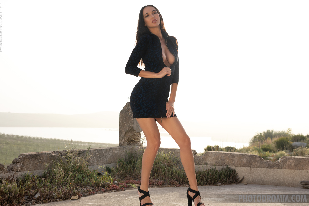 Anastasya Big Tits in Little Black Dress for Photodromm