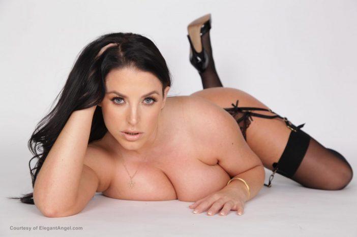 Angela White Huge Boob Black Lacy Lingerie