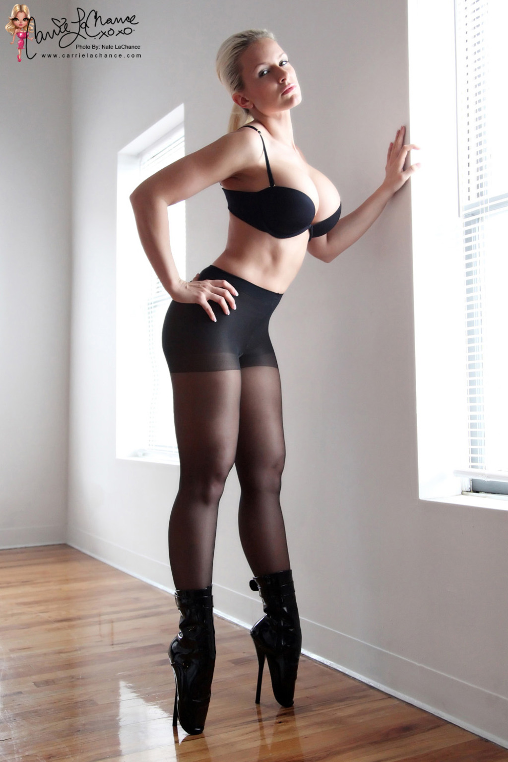 Carrie Lachance Black Bra Pantyhose and Steep Heels