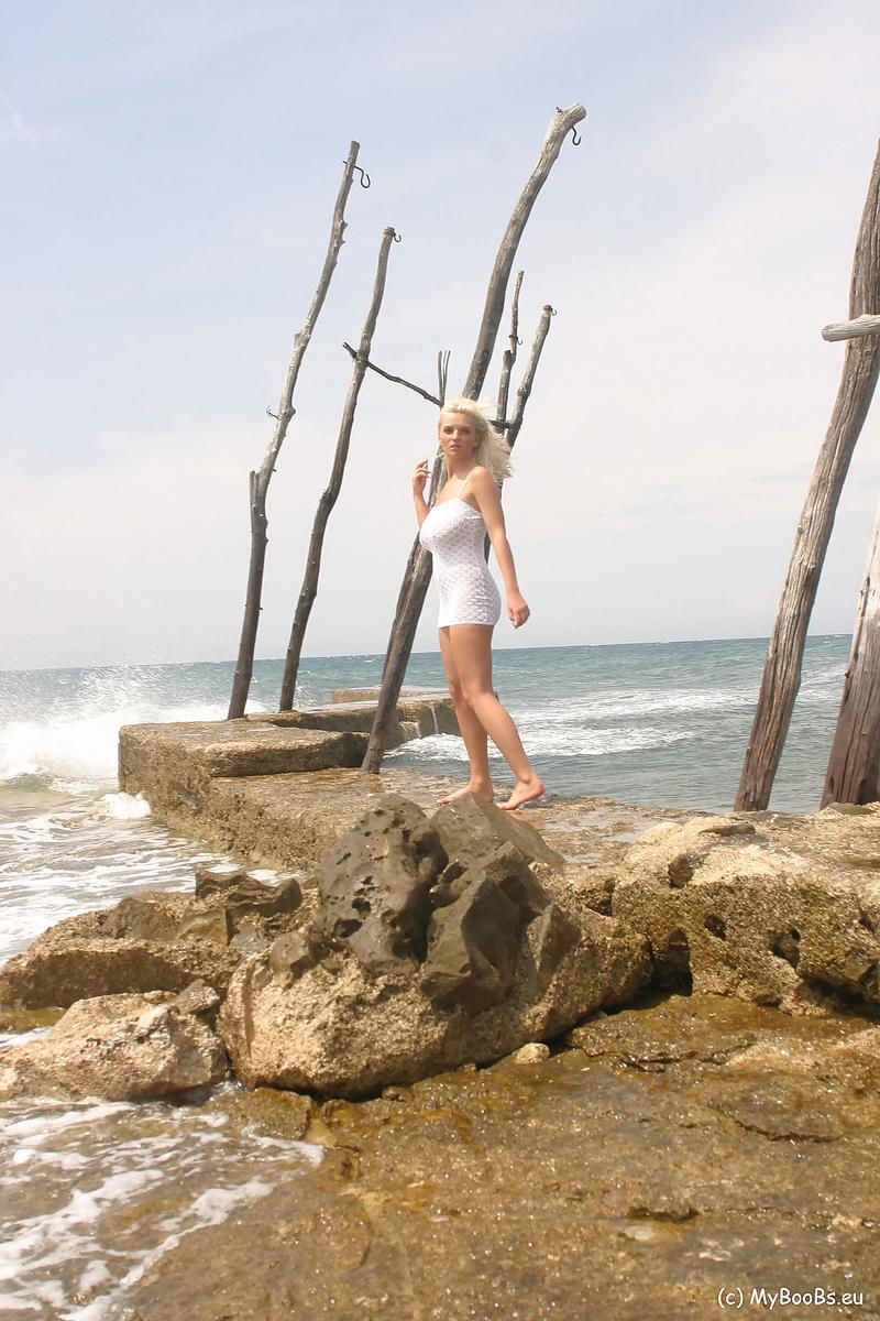 Ines Cudna Big Tits In White Dress on the Beach