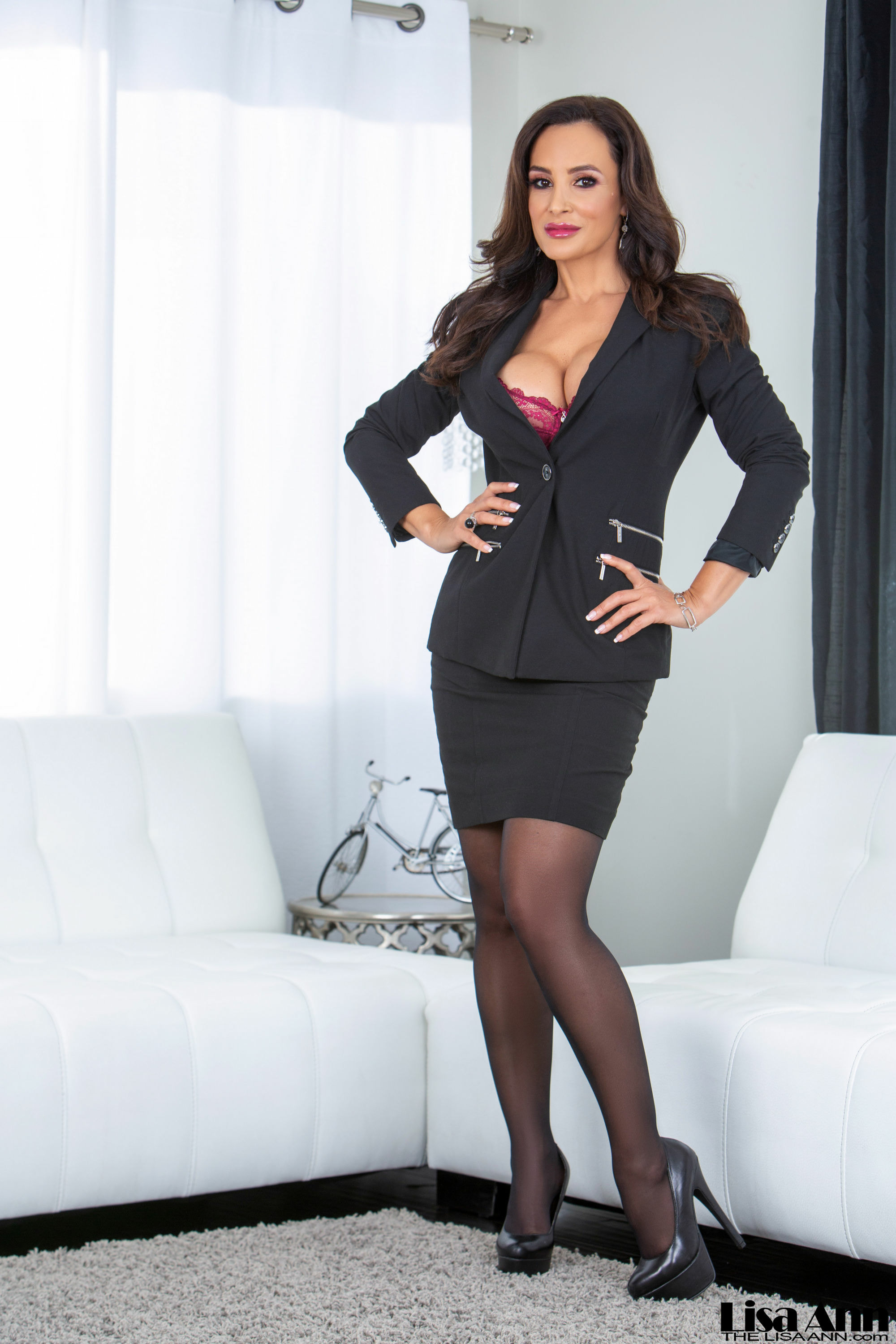 Lisa Ann Big Tits Very Tight Business Suit and Skirt