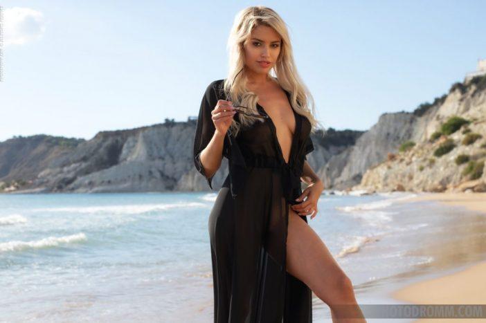 Margot Big Tits and Little Black Beach Dress for Photodromm