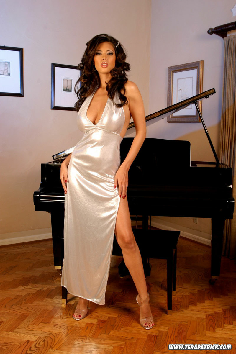 Tera Patrick Big Tits in Sparkly Silver Dress