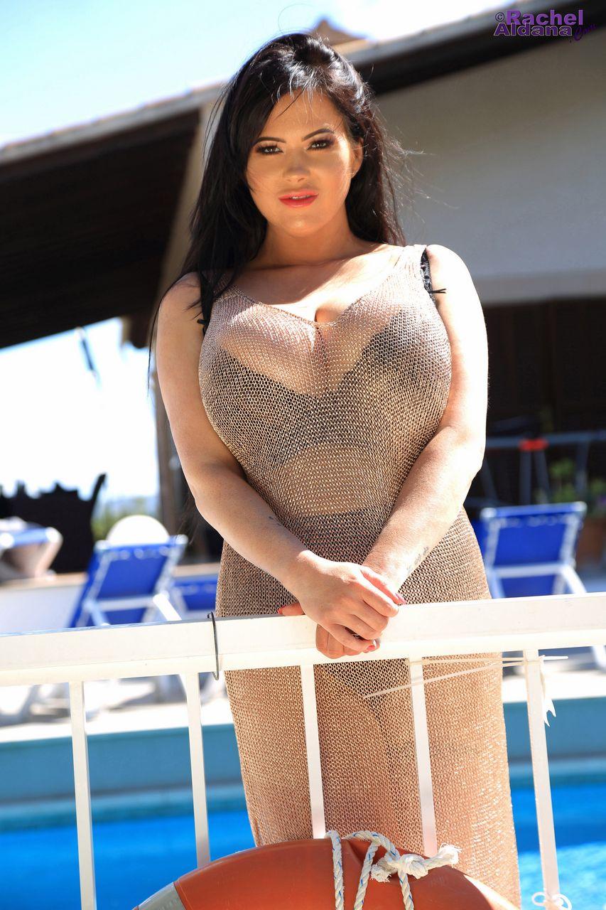 Rachel Aldana Huge Tits in Gold Mesh Dress
