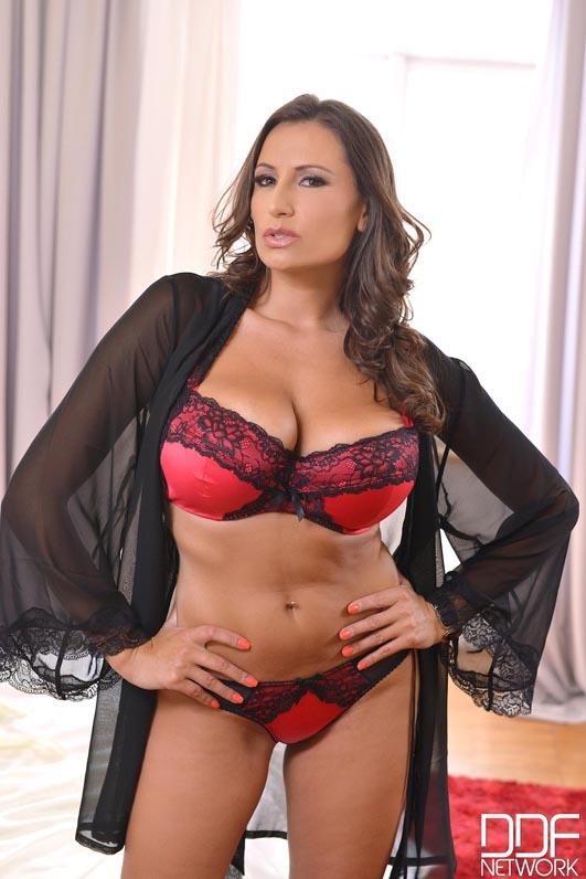 Sensual Jane Big Boobs in Red Bra and Red Silky Panties