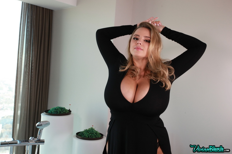 Vivian Blush Huge Tits in Tight Little Black Dress