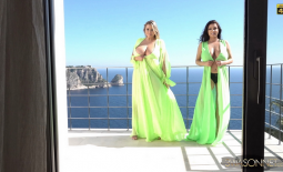 Ewa Sonnet and Vivian Blush Huge Tits Look Great in Green Dresses