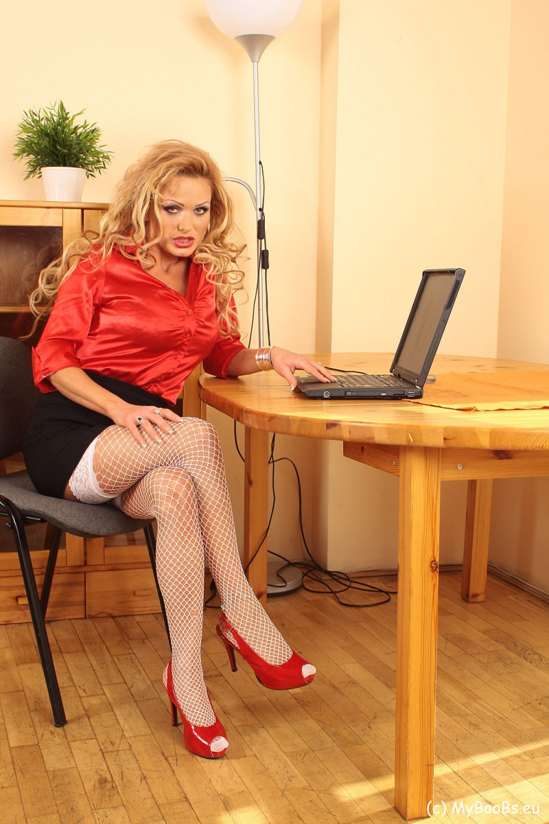 Sharon Pink Big Tit Blonde Secretary