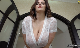 Xenia Wood Huge Tits in Lacy White Top