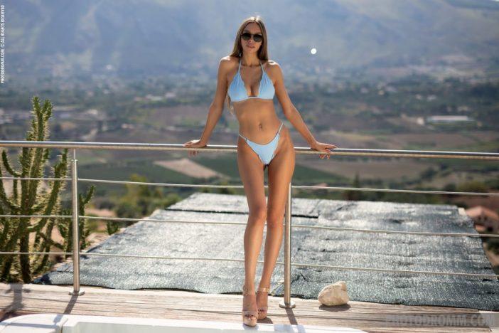 Alina Big Boobs in Sexy Blue Bikini for Photodromm