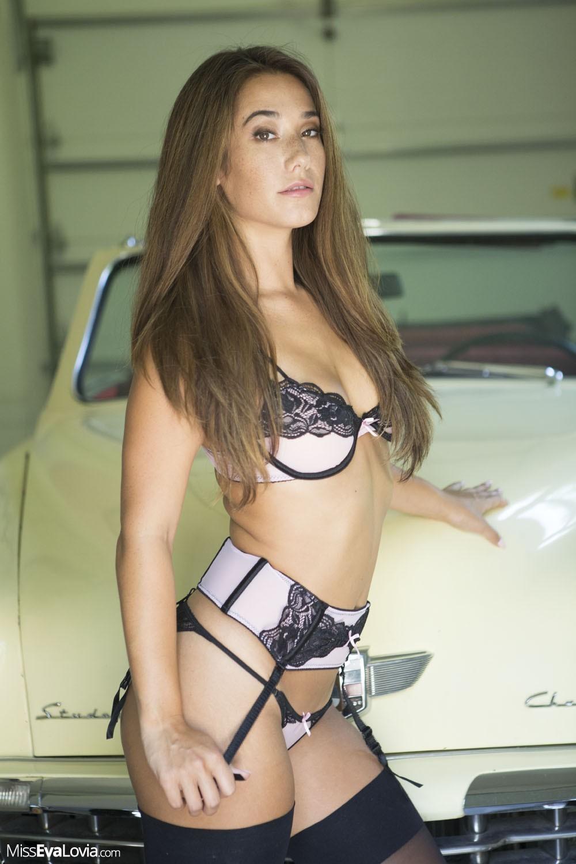 Eva Lovia Big Tits and Pink and Black Lingerie