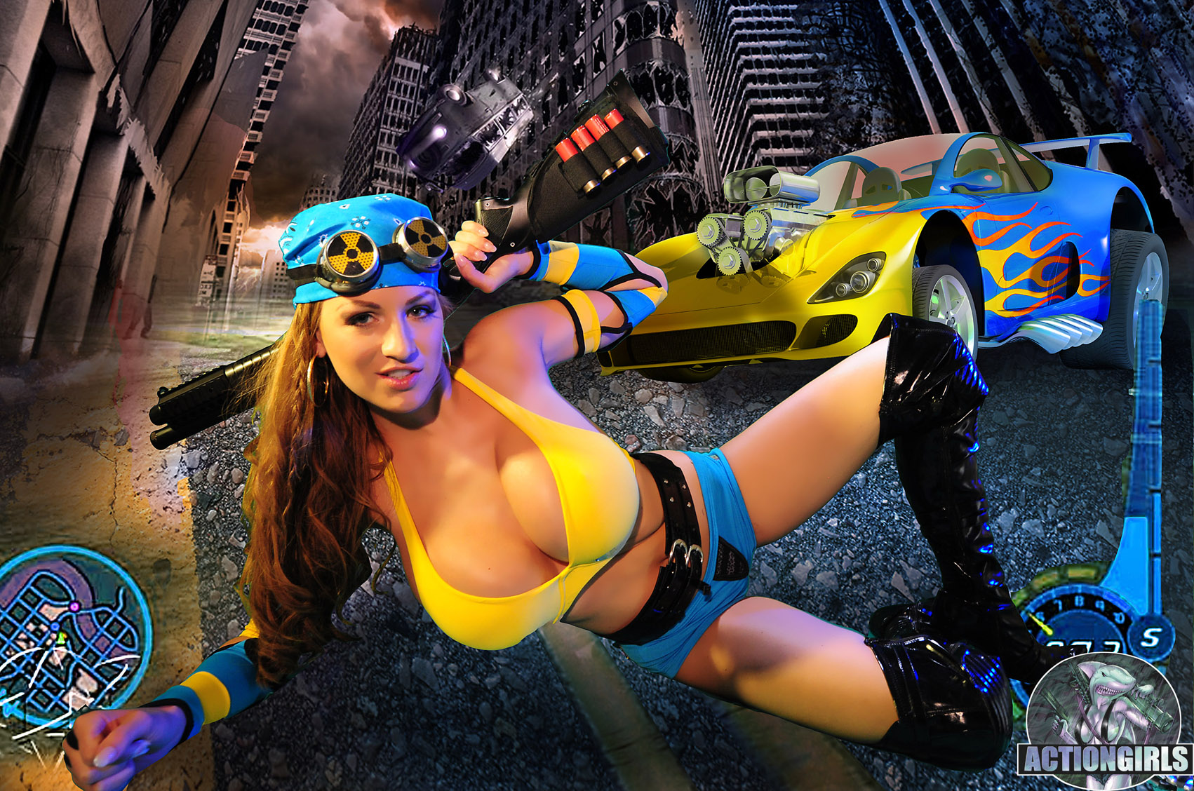 Jordan Carver is Huge Boob Radioactive Girl in Yellow Bikini Top for Actiongirls
