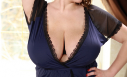 Xenia Wood Huge Tits in Blue Slip Dress