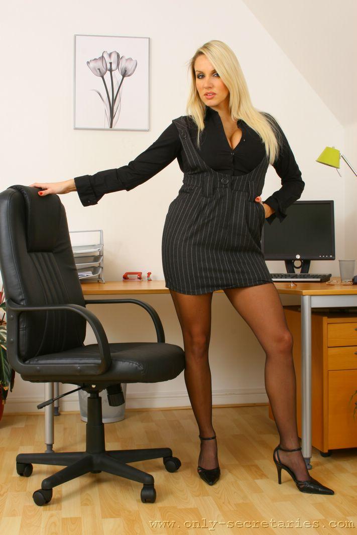 Dannii H Big Tit Blonde Secretary Short Minidress for Only Secretaries