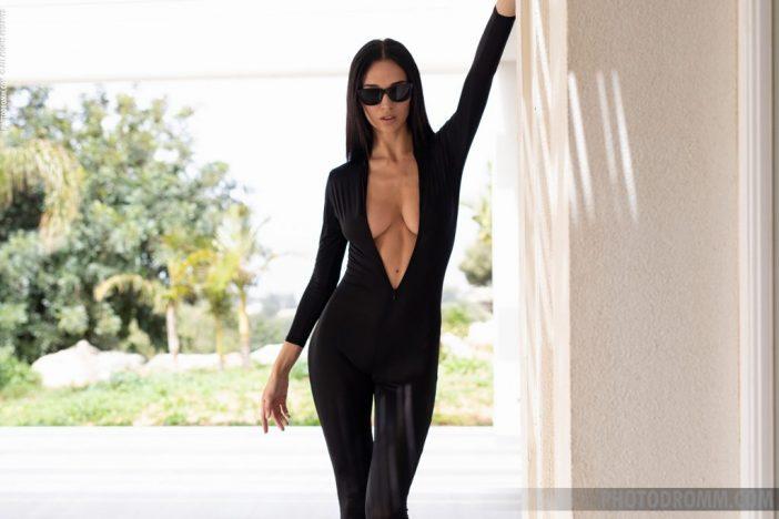 Anastasya Big Boobs in Slinky Black Catsuit for Photodromm