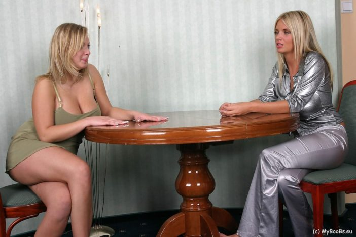 Ines Cudna Big Tit Blonde plays with Malina on the Table
