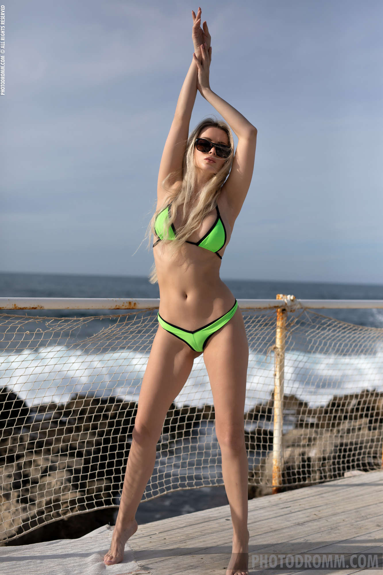Katya Big Tit Blonde in Flourescent Green Bikini for Photodromm