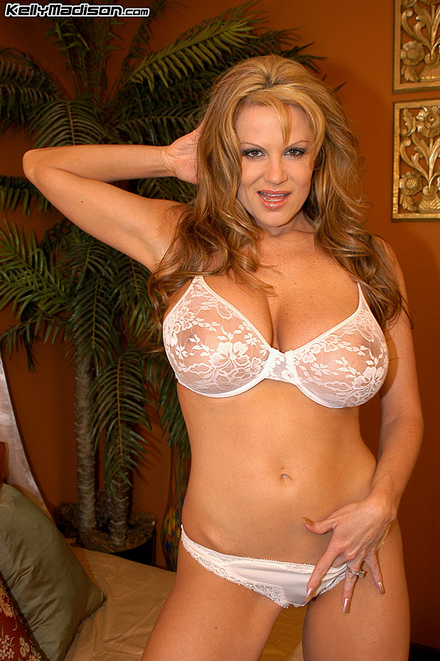 Kelly Madison Huge Tits in Sexy Lacy White Bra