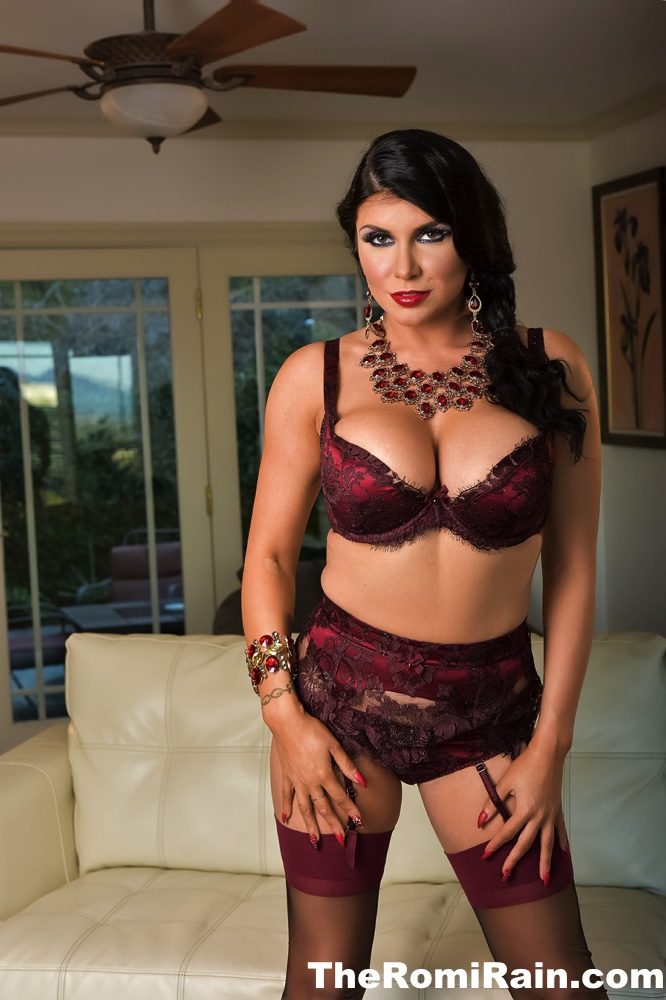 Romi Rain Big Tits in Burgundy Bra and Stockings
