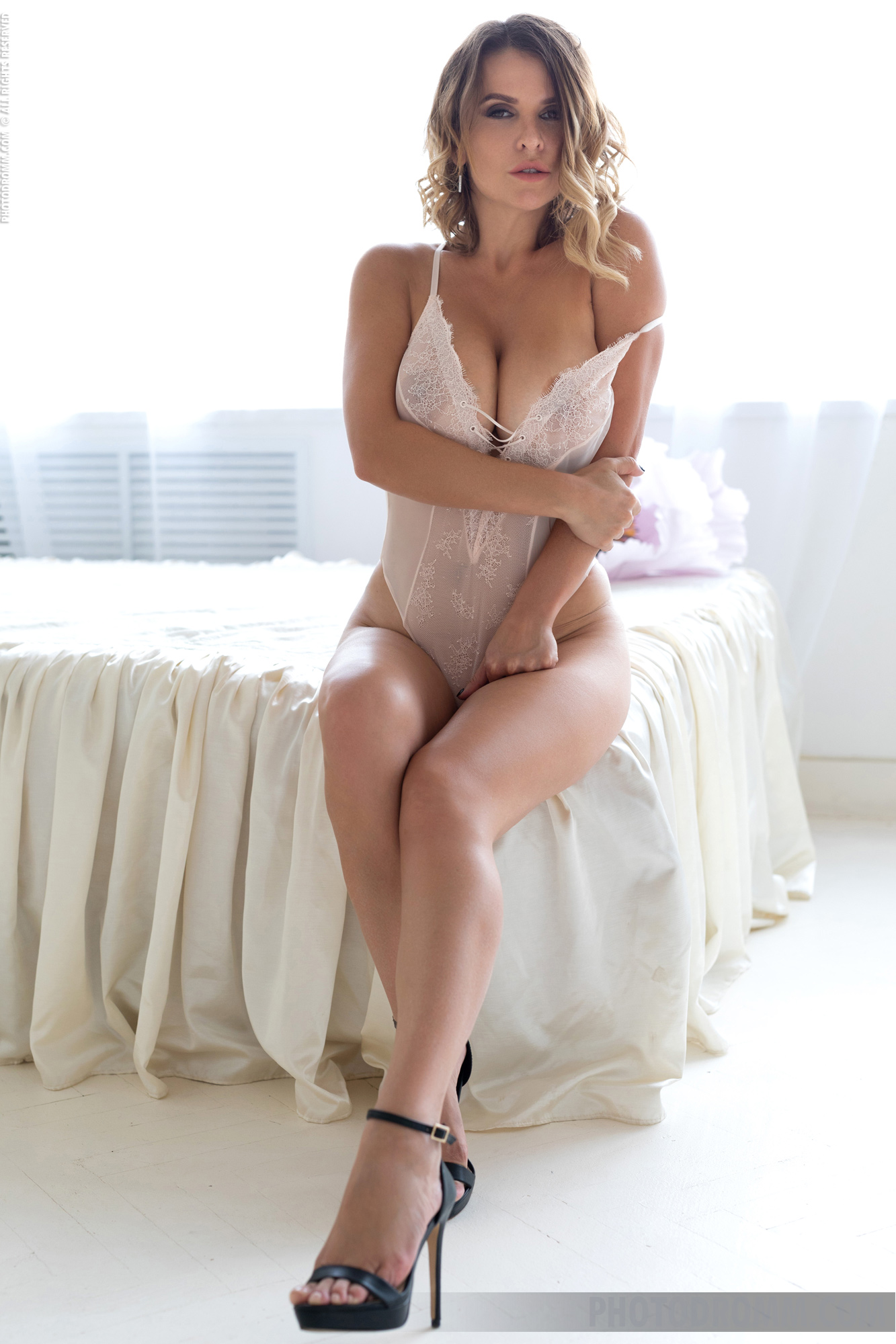 Sharona Big Toit Blonde in Sexy White Lingerie for Photodromm
