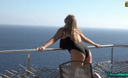 Vivian Blush Huge Tits in Black Swimsuit at the Pool
