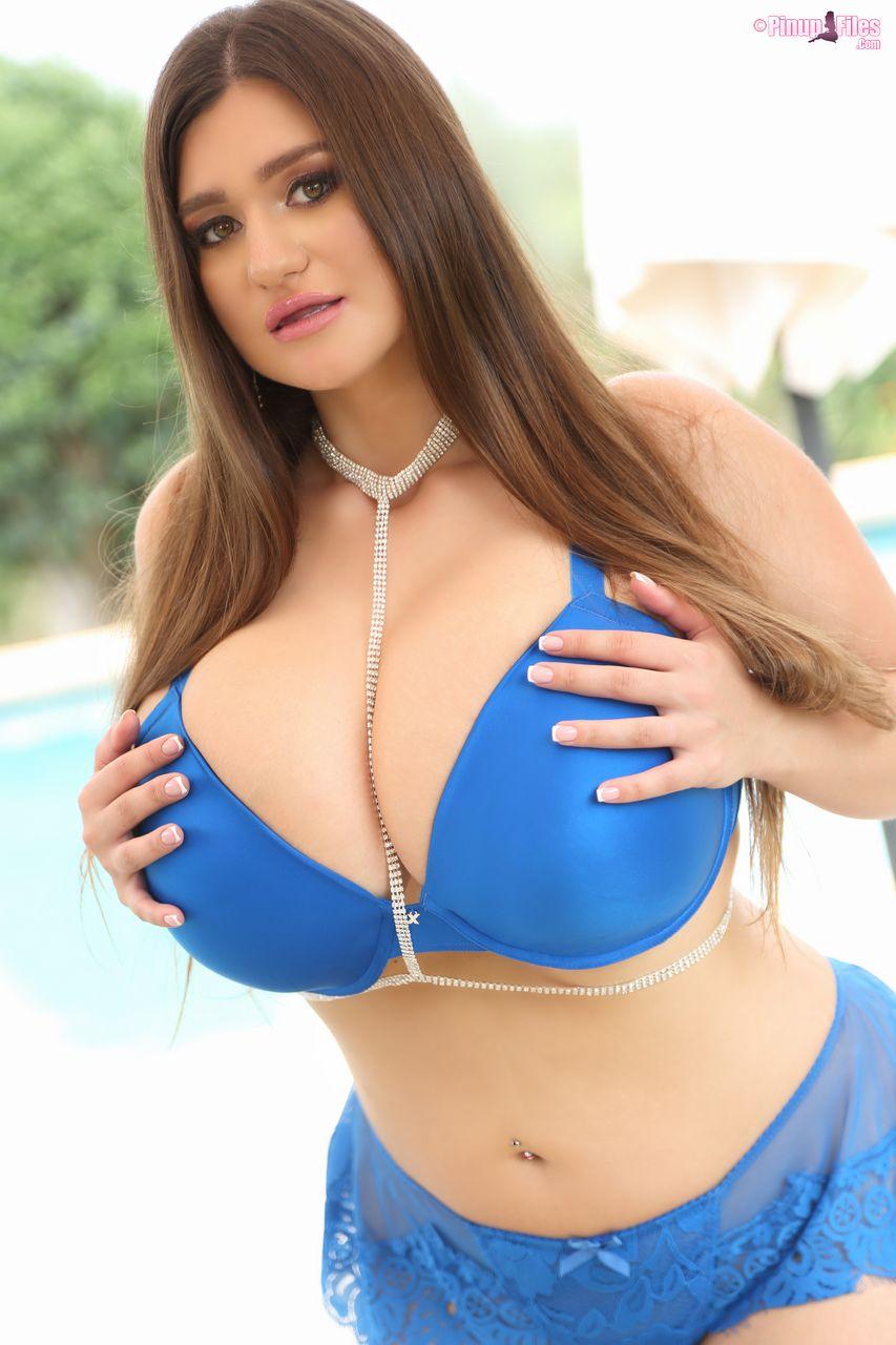 Demmy Blaze Huge Tits in Blue Bra