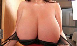 achel Aldana Huge Tits in Red and Black Bra