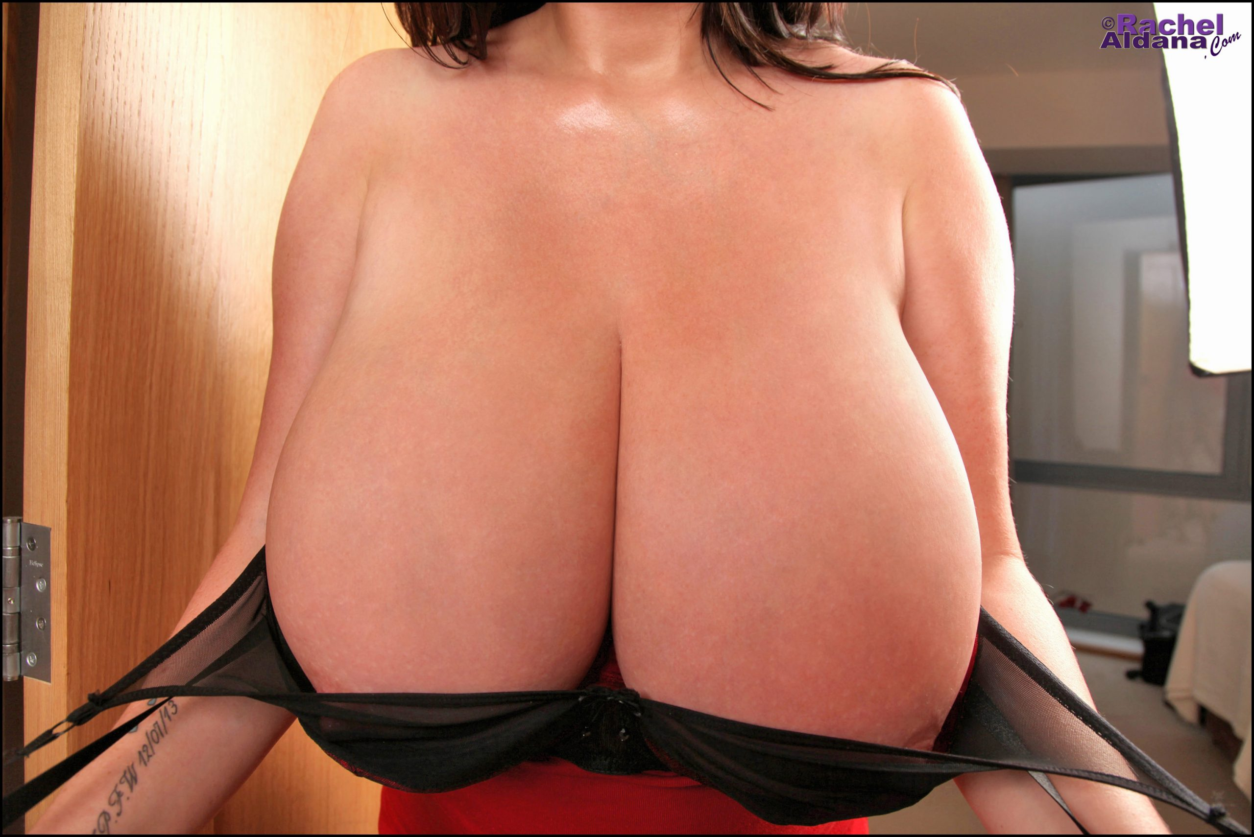 achel Aldana Huge Tits in Red and Black Bra