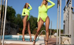 Alina and Margot Big Tits in Flourescent Yellow Swimsuits for Photodromm