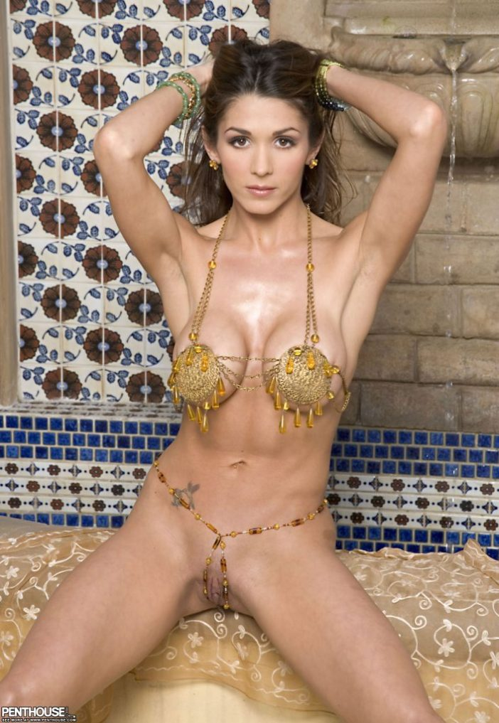 Taya Parker Big Tits in Gold Bikini for Penthouse