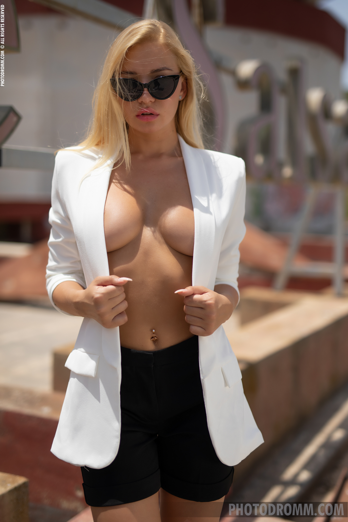 Fabiana Big Tit Blonde in Tight White Jacket for Photodromm