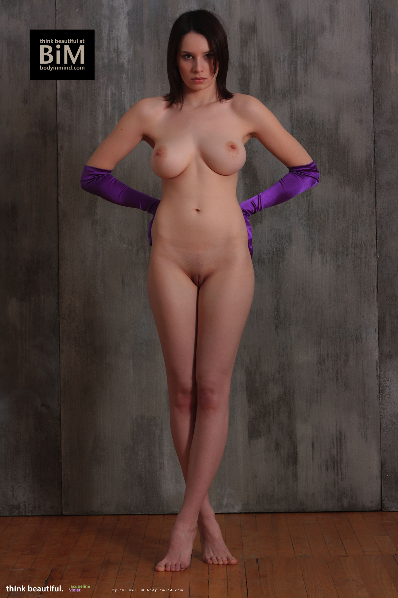 Jacqueline Big Tits with Violet Gloves and Violets for Body in Mind