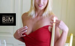 Vivien Big Tit Blonde Strips Out of Red Top for Body in Mind