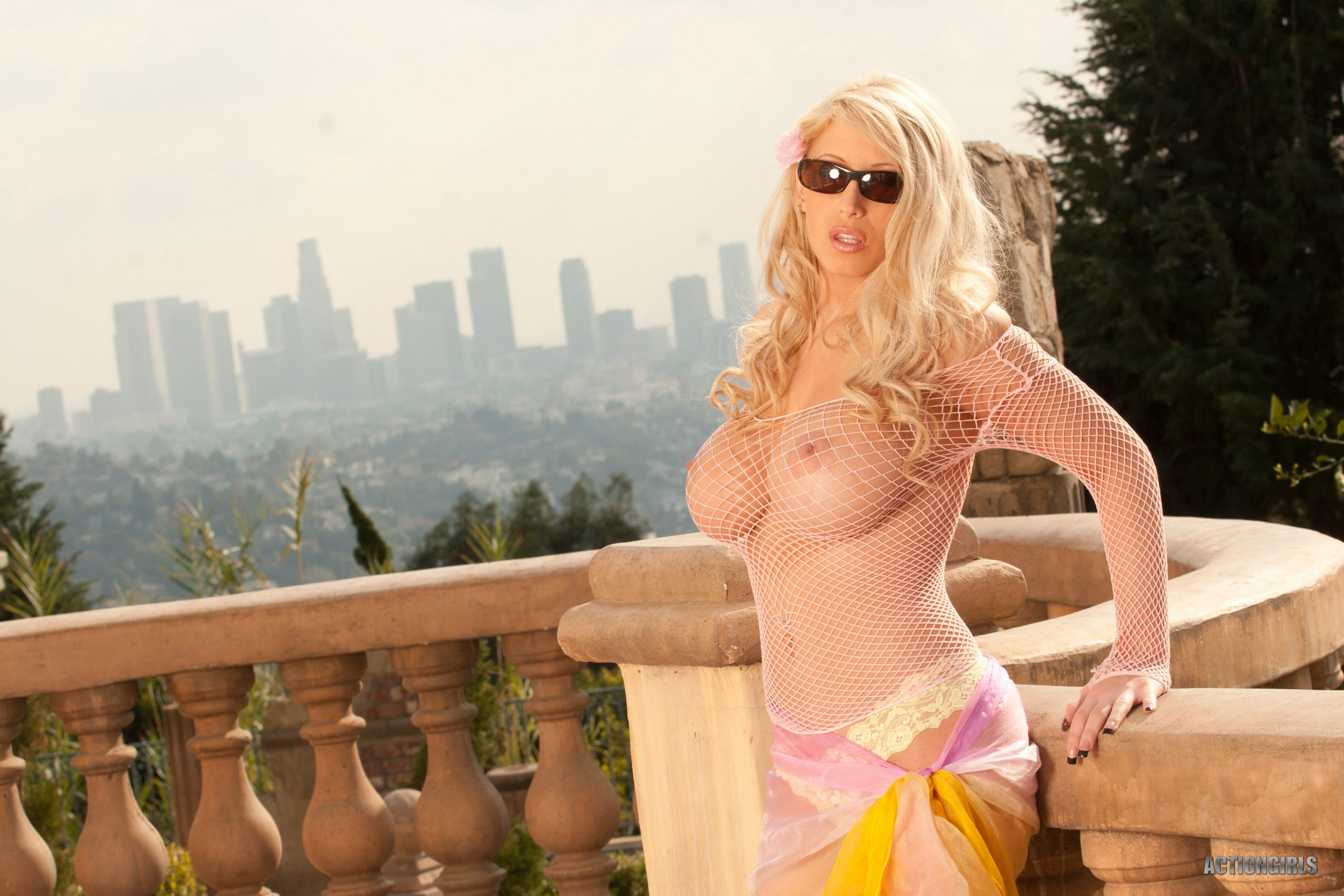 Brooke Becker Big Tit Blonde in Fishnet Shirt for ActionGirls