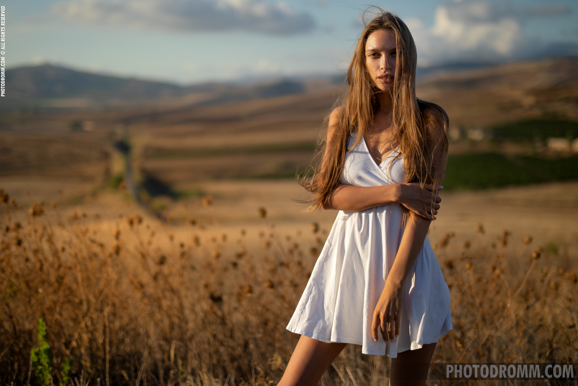 Alina Big Tits in White Flowy Dress for Photodromm