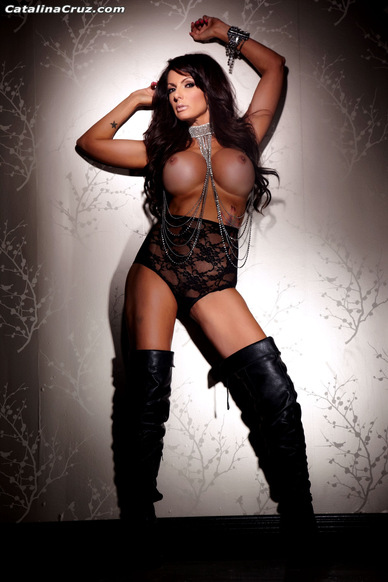 Catalina Cruz Big Tits and Black Leather Thigh High Boots