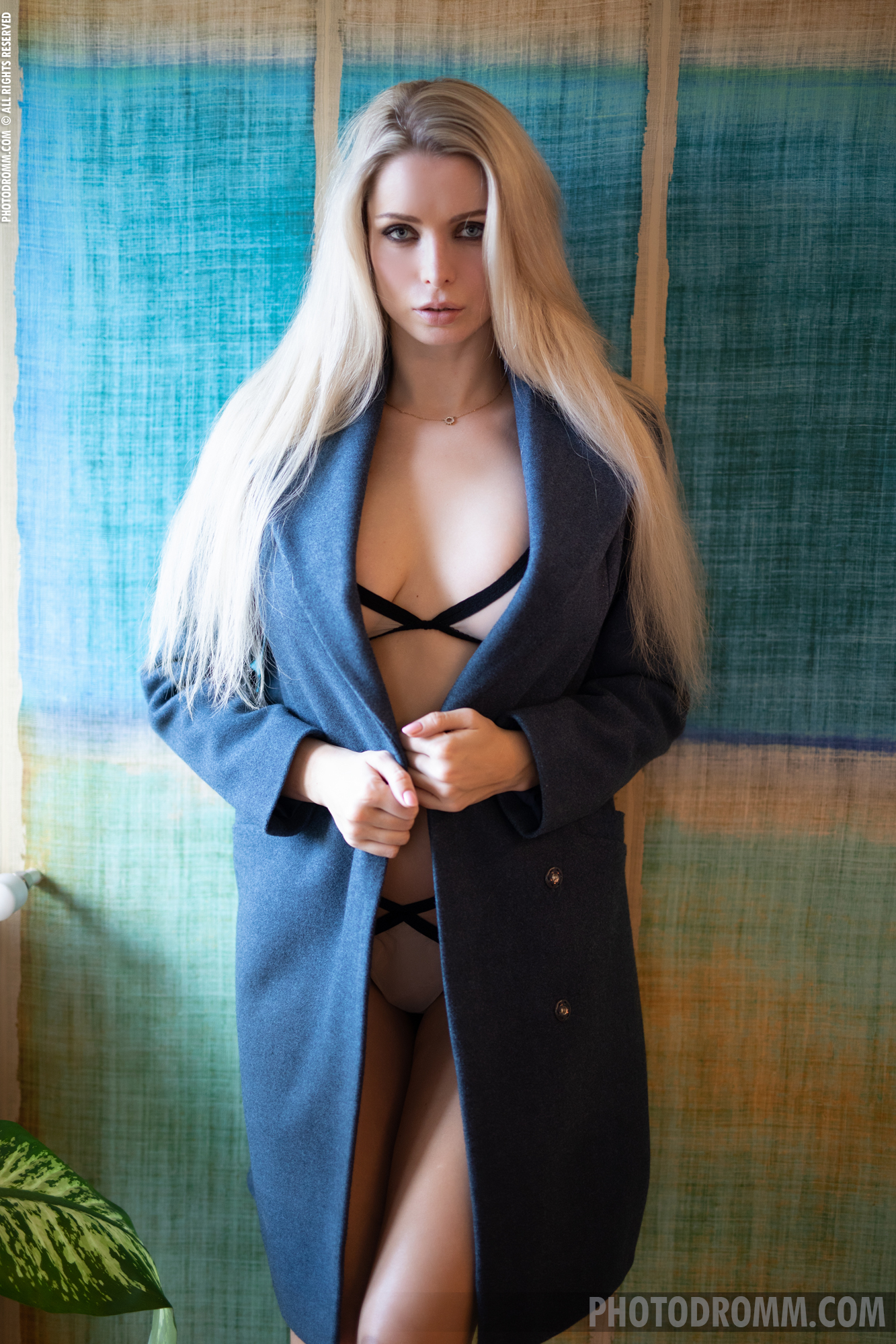 Katya Big Tit Blonde in a Big blue Coat for Photodromm