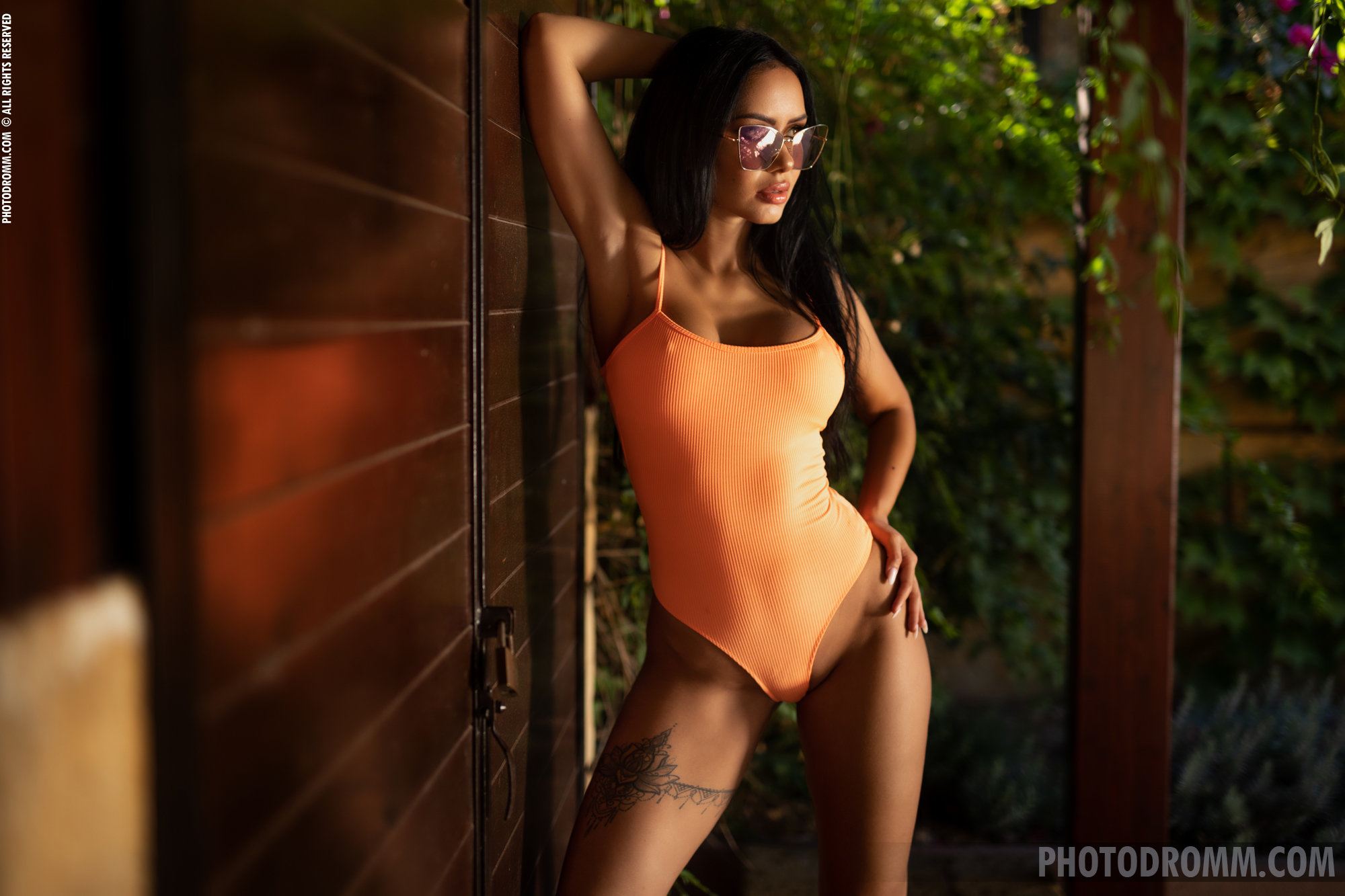 Mareeva Lovely Big Tits in Orange Swimsuit for Photodromm