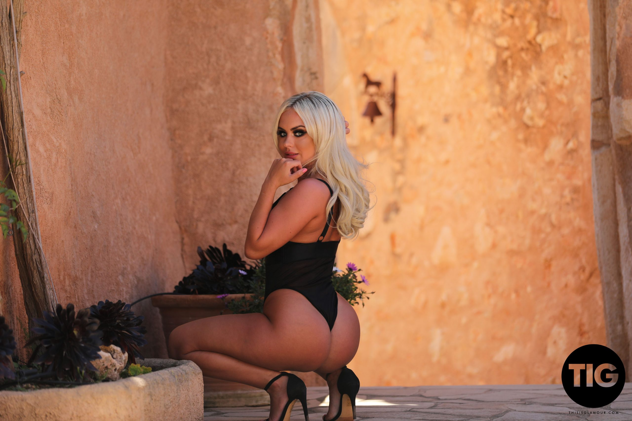 Sara h Lou Big Tit Blonde in Black Swimsuit and High Heels