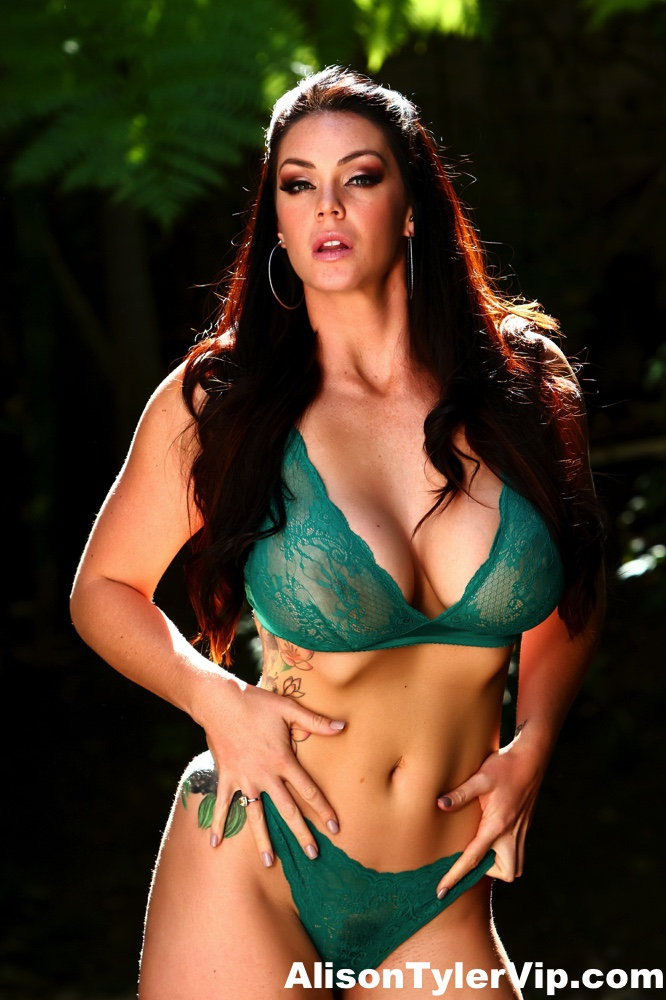 Alison Tyler Big Tits in Sexy Green Lingerie