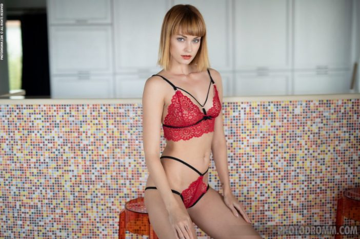 April is Tall Slinky Blonde in Red Lingerie for Photodromm